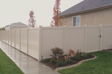 vinyl fencing spokane creating privacy around backyard almond color with nice landscaping